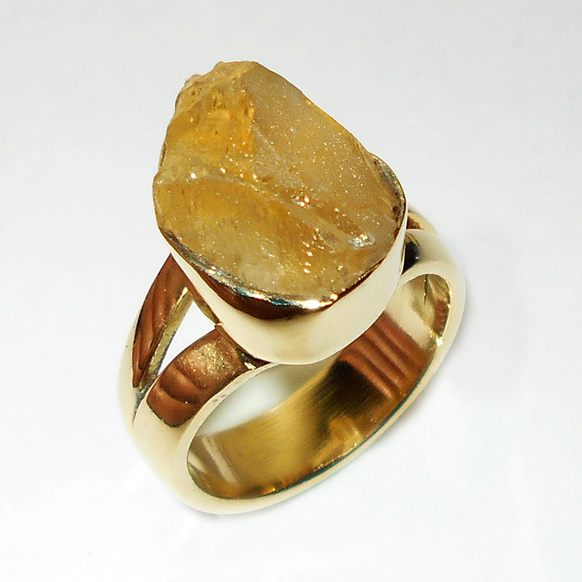 35c4f41fffefe Natural Rough Citrine Gemstone Ring
