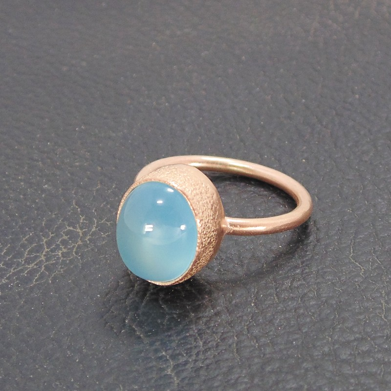 Natural Gemstone. Ring Cabochon Mexican Blue Chalcedony Handcrafted USA